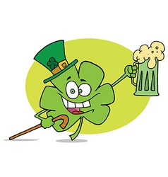 Partying Clover Character In A Green Hat vector image vector image