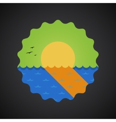 Summer Travel Sea Sunset flat icon vector image