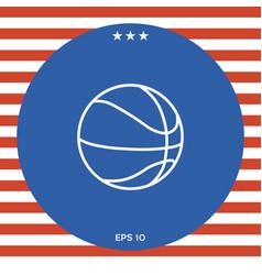 basketball ball line icon vector image