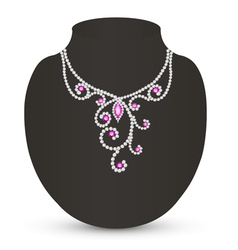 Female necklace with pink jewels vector