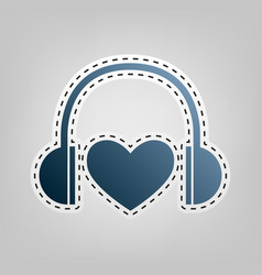headphones with heart blue icon with vector image vector image