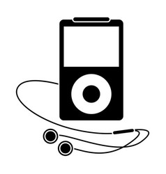 mp3 player headphones pictogram vector image
