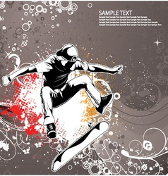 skater with grunge floral background vector image vector image