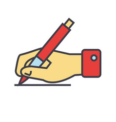 Writing sign hand with pen concept line vector