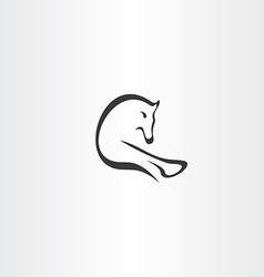 black horse running logo icon vector image