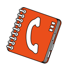 Color silhouette cartoon orange phone book with vector