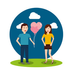 Couple happy man holding balloons and happy woman vector