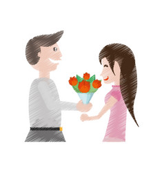 drawing happy couple with flowers vector image vector image