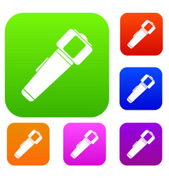hand flashlight set color collection vector image