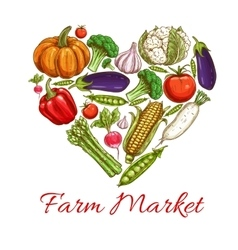 Heart of vegetables poster for farm market design vector image vector image