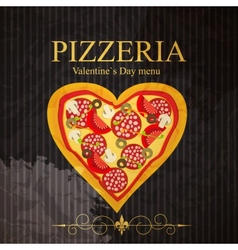 Pizza Menu Template on Valentines Day vector image vector image