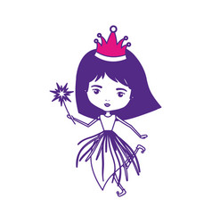 princess fairy with crown and magic wand on color vector image