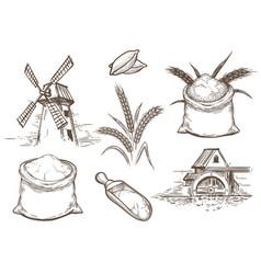 retro sketch bakery elements vector image