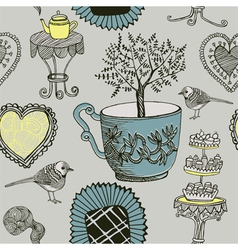 Tea and Birds vector image vector image