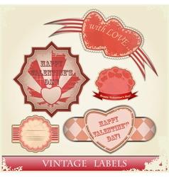vintage love labels set for valentines day - vector image vector image