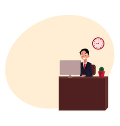 Young businessman sitting and working in office vector