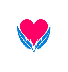 abstract love heart feather logo icon vector image