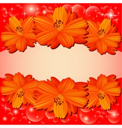 background with red flowers vector image