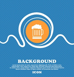 Beer glass icon sign Blue and white abstract vector