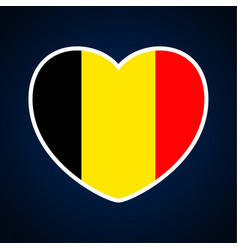 Belgium flag in a shape of heart icon flat heart vector