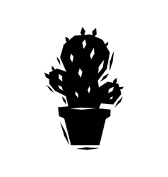 Black and white cactus logo vector
