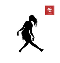 Black silhouette of women zombie vector
