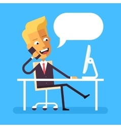 Blonde businessman sitting at the desk whith phone vector