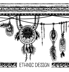 Borders with feathers and stripe with pendants vector