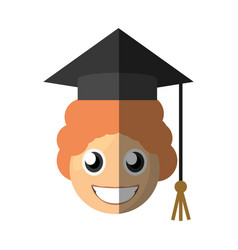 boy graduate emoticon cartoon vector image