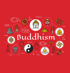 Buddhism religion symbols and meditation culture vector