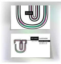Business card design with letter U vector