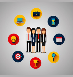 business people with set icons vector image