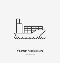 Cargo shipping flat line icon boat with vector