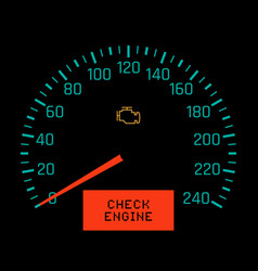 Check engine light on speedometer display vector