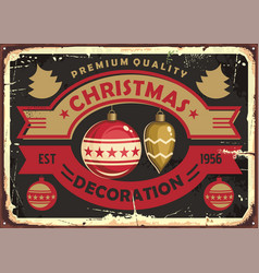 christmas decoration store retro tin sign design vector image