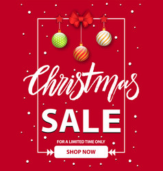 christmas sale shop now reduction price banner vector image