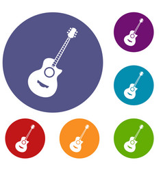 Classical guitar icons set vector
