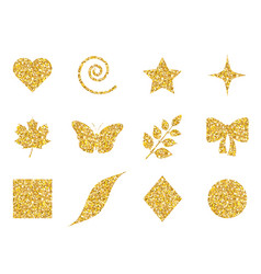 collection of 12 elements with glitter set of vector image