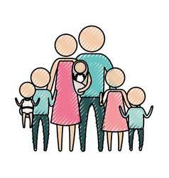 color crayon silhouette of pictogram big family vector image