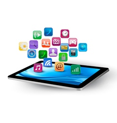 Colorful application icons in a tablet vector image