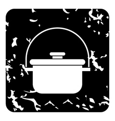 Cooking cauldron icon grunge style vector