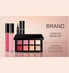 Cosmetics set realistic eye shadow lip vector