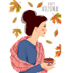 Cozy autumn cute woman vector