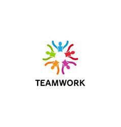 creative colorful people group team logo vector image