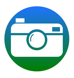 digital photo camera sign white icon in vector image