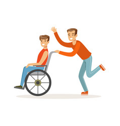 Disabled young man in wheelchair smiling friend vector