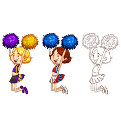 Doodle character for cute cheerleader vector