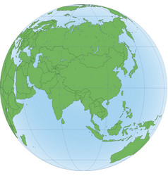 Earth globe with focused on asia vector