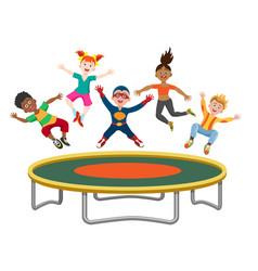 Energetic kids jumping on trampoline vector