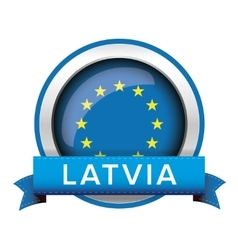 Eu flag button with latvia ribbon vector